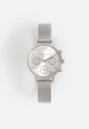 Olivia Burton Midi Dial Chrono Watches Silver