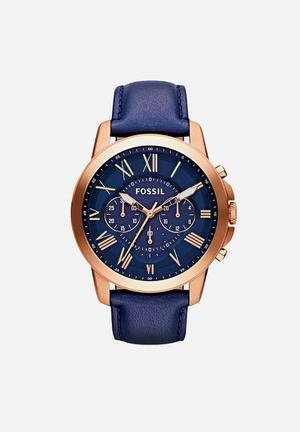 Fossil Grant Watches Gold & Blue