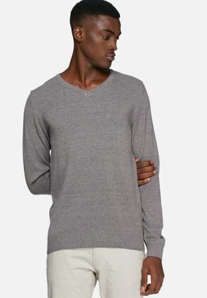 Blend V-Neck Knit Pullover Knitwear Grey