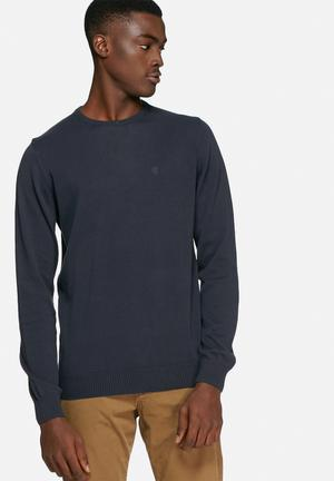 Blend Cotton Knit Crewneck Knitwear Navy