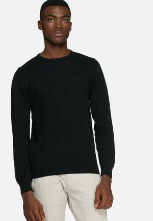 Blend Cotton Knit Crewneck Knitwear Black