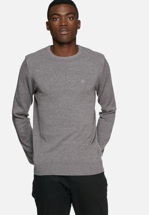 Blend Cotton Knit Crewneck Knitwear Grey
