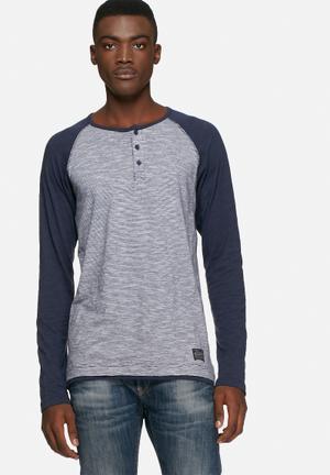 Solid Bauer Raglan T-Shirts & Vests Blue & Grey