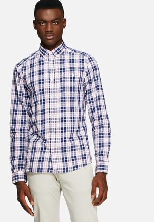 Solid Biaggio Shirt Navy / Red