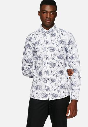 Solid Barker Regular Shirt White / Navy