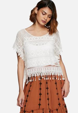 Vero Moda Sanna Lace Top Blouses Cream