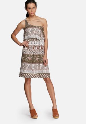 Nadia frill one-shoulder dress