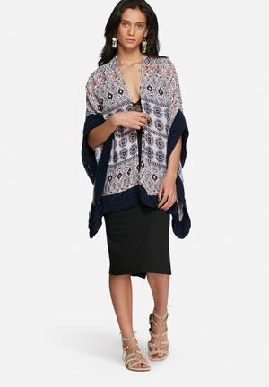 Vero Moda Ivy Kimono Jackets White, Blue & Orange