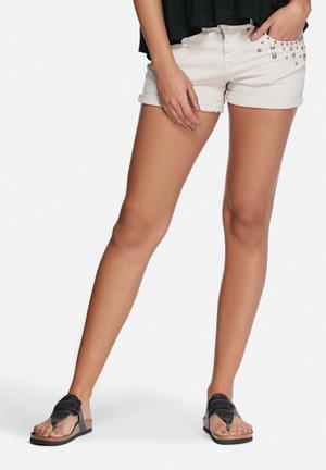 ONLY Austin Embellished Shorts Cream