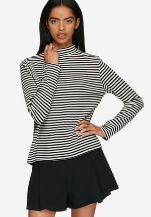 ADPT. Idea Striped Top T-Shirts, Vests & Camis Black / White
