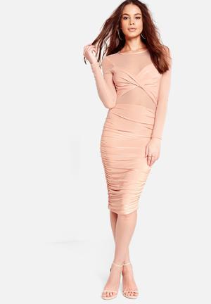 Mesh ruched dress