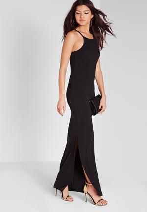 Square neck split maxi dress