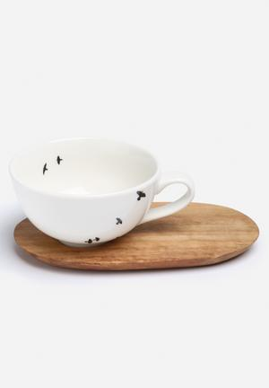 Love Milo Cappuccino Bird Cup & Saucer Drinkware & Mugs Porcelain & Hand Carved Wood