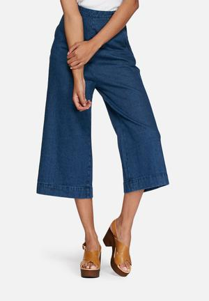 Neon Rose Denim Culotte Trousers Blue