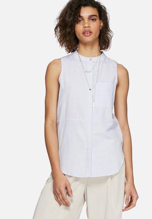 Neon Rose Chambray Linen Shirt Blouses Blue