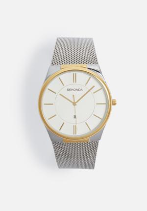 Two-tone mesh watch