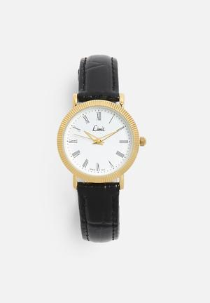 Limit Watches Round Gold-plated Watch Gold With Black Strap