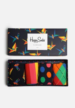 Happy Socks Origami Gift Box Socks Black, Navy, Green & Red