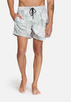 The Lot Surf's Up Swim Shorts Swimwear Grey / White / Green