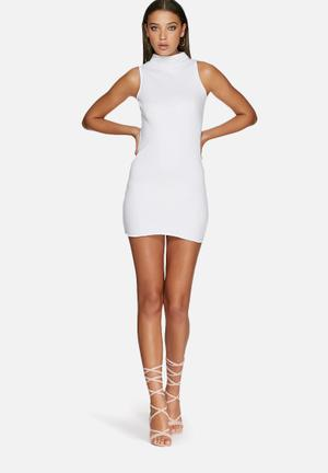 Missguided High Neck Ribbed Dress Casual White