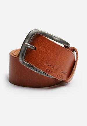 Jack & Jones Paul Leather Belt Tan