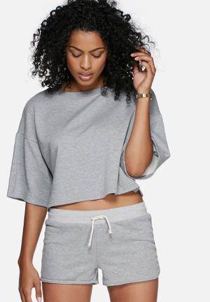 Dailyfriday Boxy Sweat Top T-Shirts, Vests & Camis Grey