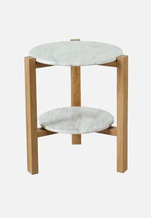 Sixth Floor Oia Marble End Table Solid Oak Base, Carrara Marble Top