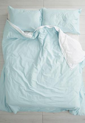 Reversible duvet set - duck egg/white