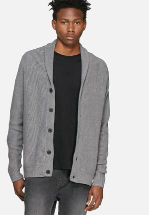 Selected Homme Mik Shawl Cardigan Knitwear Grey