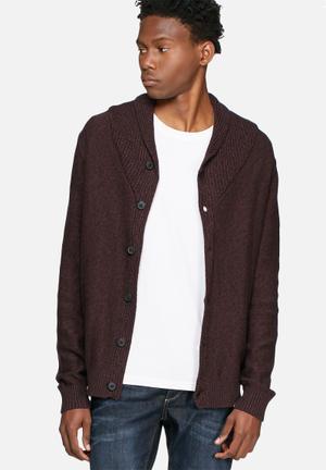 Selected Homme Bowan Shawl Cardigan Knitwear Burgundy & Black