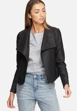 Y.A.S Gyra Draped Leather Jacket Black