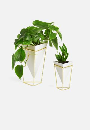 Umbra Trigg Desk Vessel Set Of 2 Accessories Ceramic & Brass-plated Metal