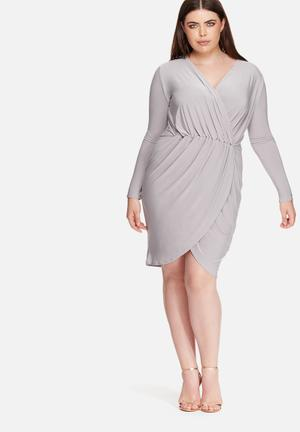 Missguided Plus Size Slinky Wrap Dress Grey