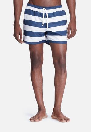 Basicthread Stripe Swimshort Swimwear Navy & White