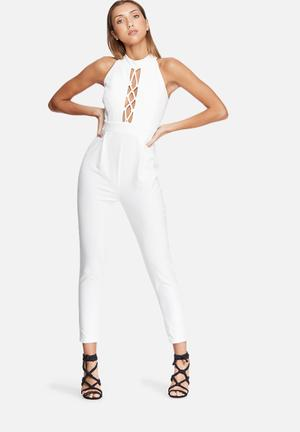 Dailyfriday High Neck Lace Up Jumpsuit White