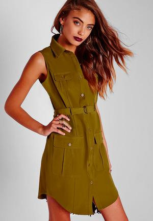 Sleeveless Belted Shirt Dress