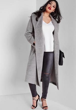 Plus size belted wool coat