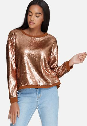 Daisy Street Relaxed Sequin Sweat T-Shirts, Vests & Camis Rose Gold