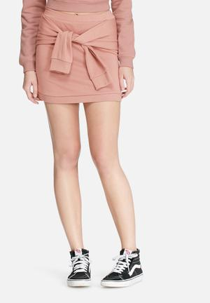 Daisy Street Sweat Mini Skirt With Tie Front Co-ord Rose Pink