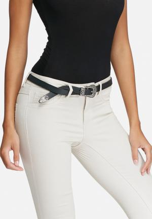 Western buckle leather belt