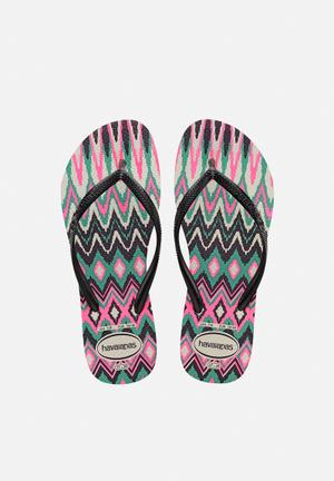 Havaianas Women's Slim Tribal Sandals & Flip Flops White, Black & Pink