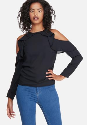 Fitted cold shoulder ruffle blouse