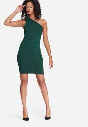 Noisy May Lurry One Shoulder Dress Occasion Green Glitter