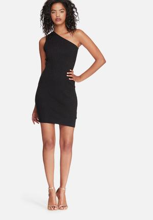Noisy May Lurry One Shoulder Dress Occasion Black Glitter