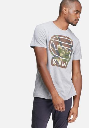 G-Star RAW Cheldan Regular Tee T-Shirts & Vests Grey, White, Brown & Green