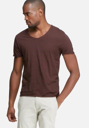 Selected Homme Merce Stripe Tee T-Shirts & Vests Red & Black