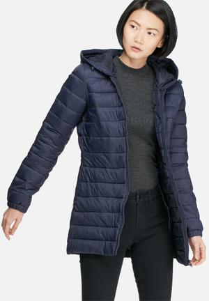 Mash quilted nylon long coat