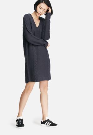 VILA Riva Cable Knit Dress Casual Blue