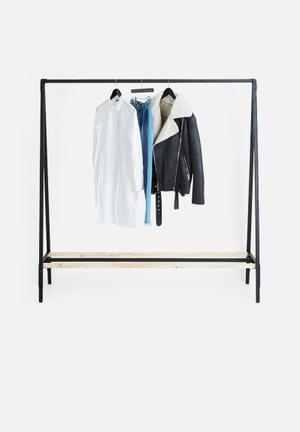 Sixth Floor Clothing Rail With Shelf Metal & Wood