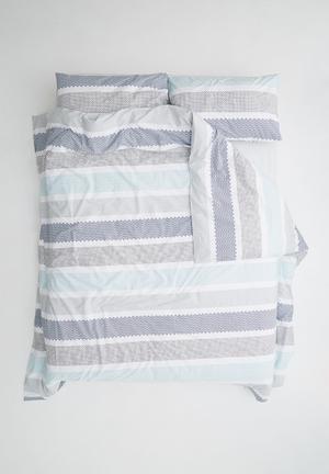 Sixth Floor Patterned Stripe Duvet Set Bedding 100% Cotton, 200TC